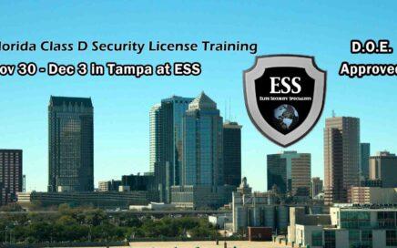 Florida D Security License Training in Tampa NOV 30