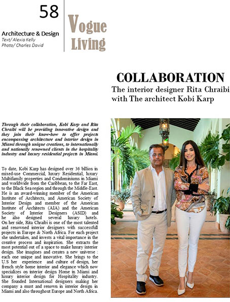 Vogue collaboration the interior design Rita Chraibi & The architect Kobi Karp