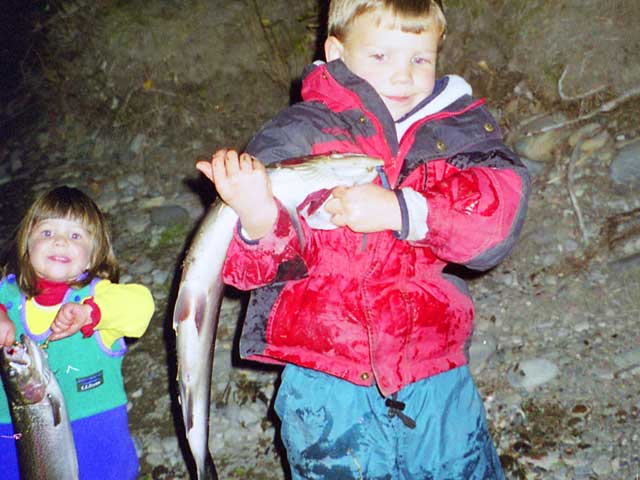 Sy and Ava with their catch of the day