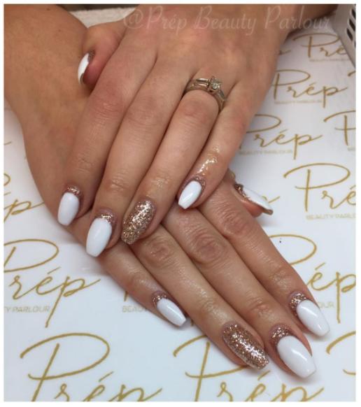 Glitter Reverse French Gel Extension Manicure Vancouver | Prép Beauty Parlour
