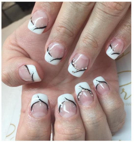 French Gel Extension Manicure w/ Gems Vancouver | Prép Beauty Parlour