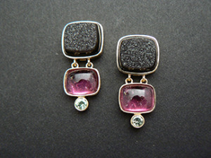14ky earrings with drusy and rubellite tourmaline and green garnet by Karen Bandy