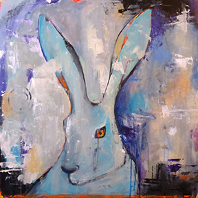 Wylie Rabbit' 24x24 Acrylic on Panel © Karen Bandy