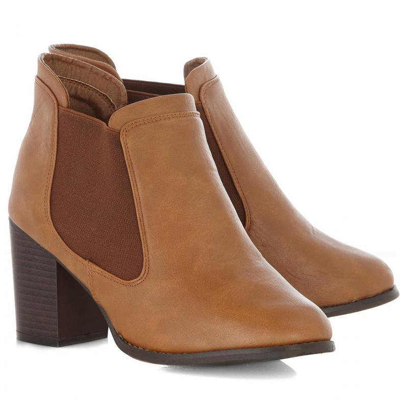 Block heel brown boots
