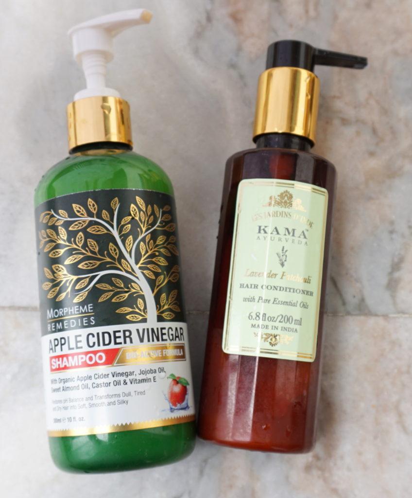 Morpheme remedies apple cider vinegar shampoo review and Kama hair conditioner