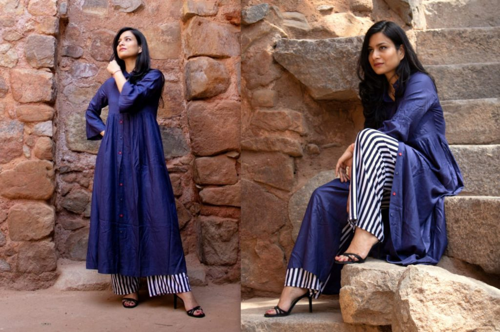 Blue striped white wide legged pants with front buttoned navy long tunic Kurti