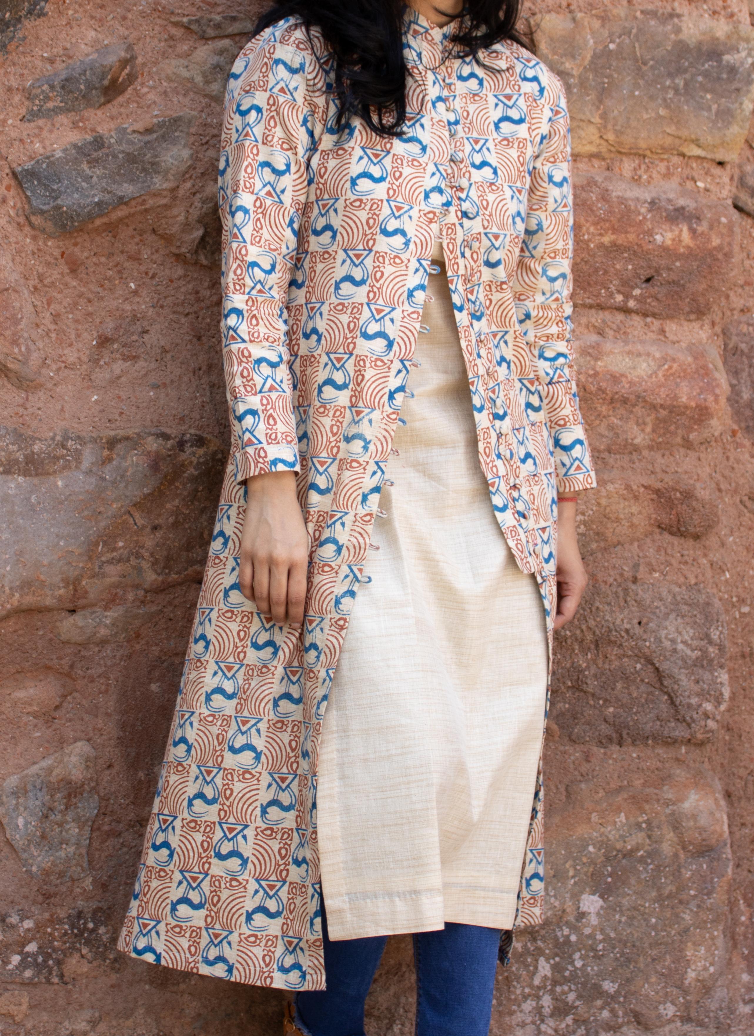 Jodhpuri jacket for women on plain silk kurti