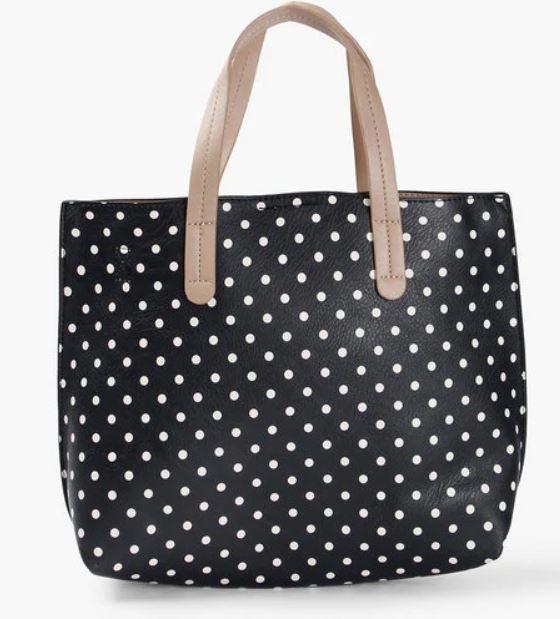 Black polka dot bag