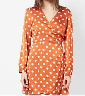 Polka dots wrap dress with waist tie up