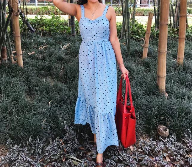 skyblue polka tie up dress by Posh affair