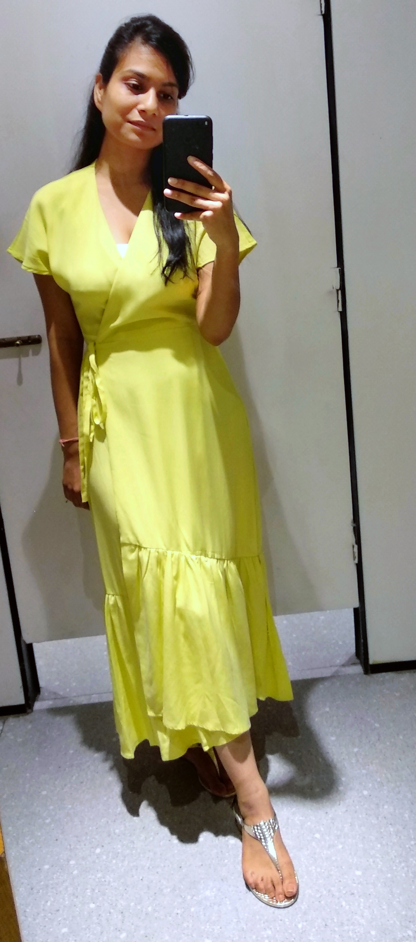 Lime green plain maxi dress with frills