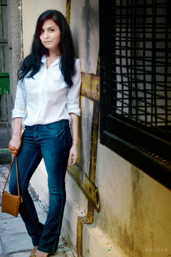 weekend look - white shirt & flared jeans