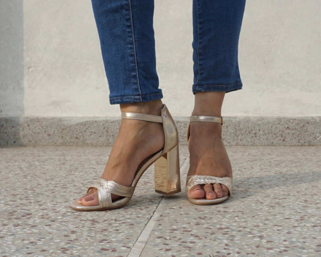 What shoes to wear with skinny jeans - golden strap heels
