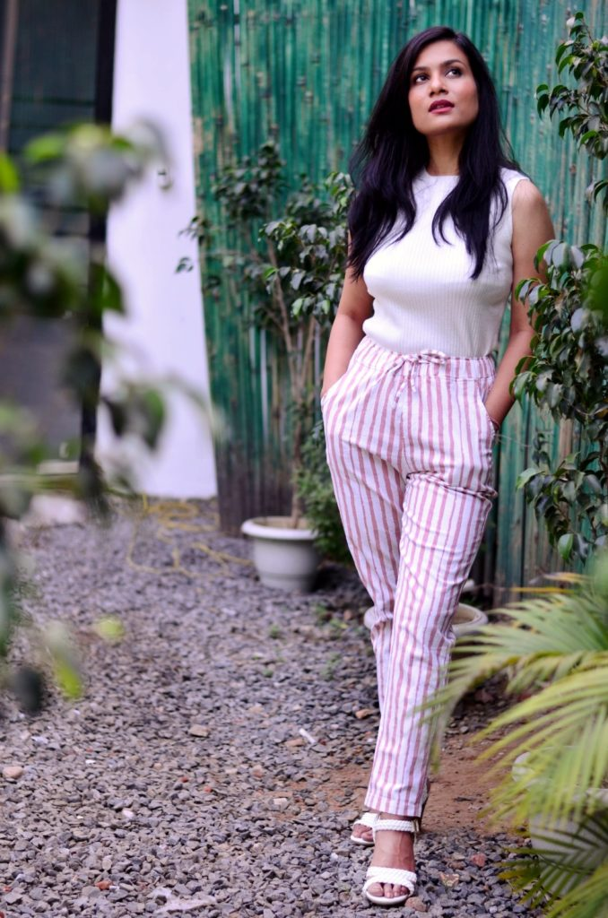 Global republic fashions-turtle-neck-knitted-top-cotton-triped -pants-with-white-wedges