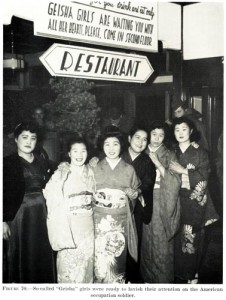 """""""Geisha Girls"""" stand outside a local restaurant ready to entertain US forces"""