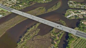 3D rendering of the bridge that will extend 44th Avenue over the Braedon River