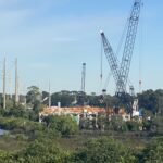 View of bridge construction from west side of the Braden River