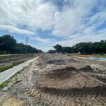 Westward view of the future westbound travel lanes near 65th Street East
