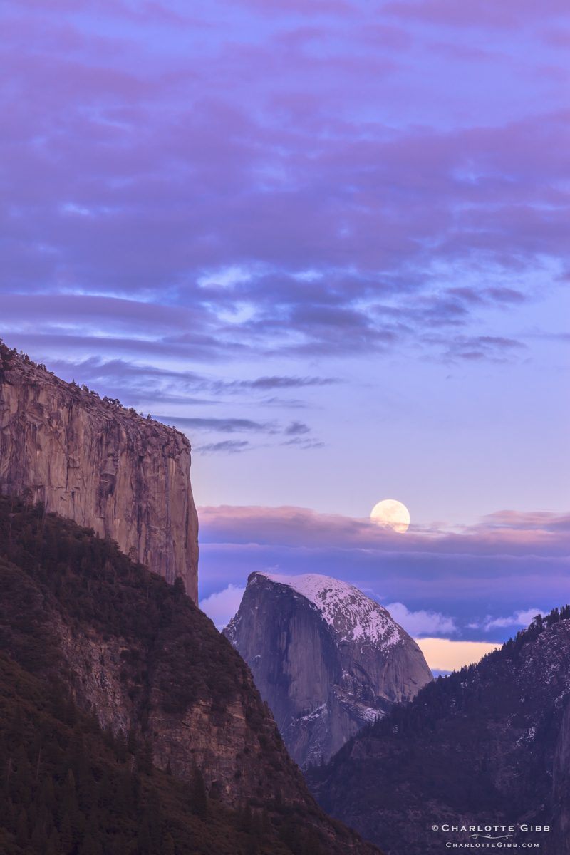 Moonrise Half Dome Sunset, Feb. 2014