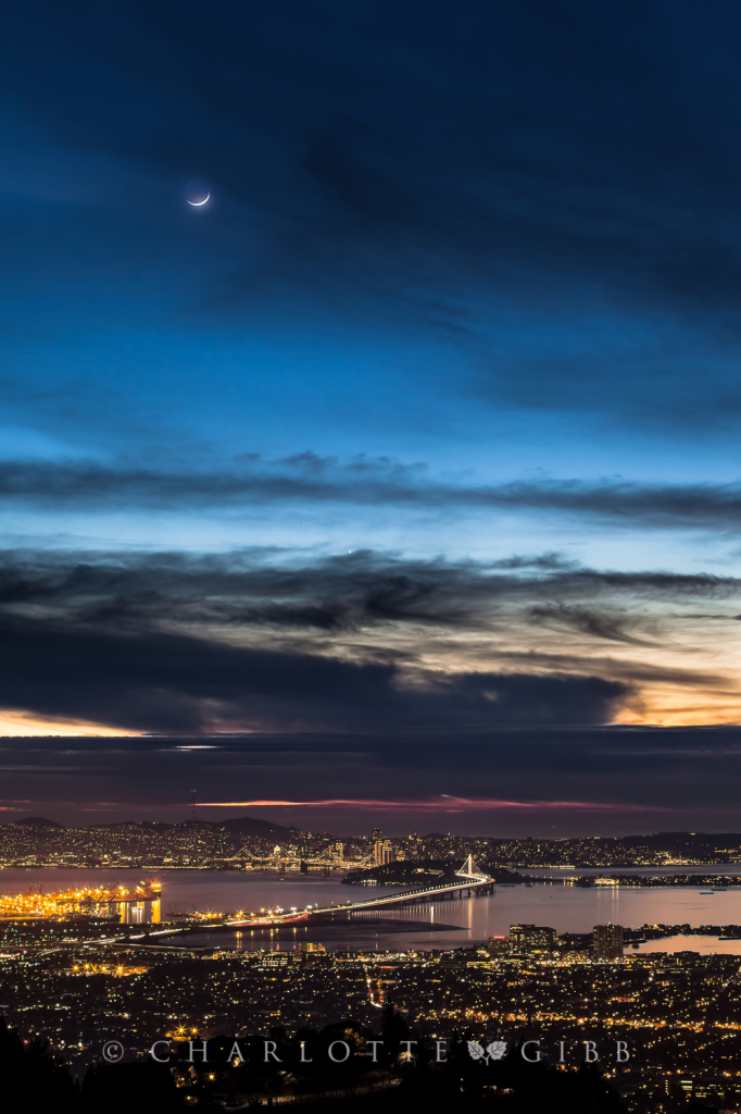 Moon Setting Over The Bay