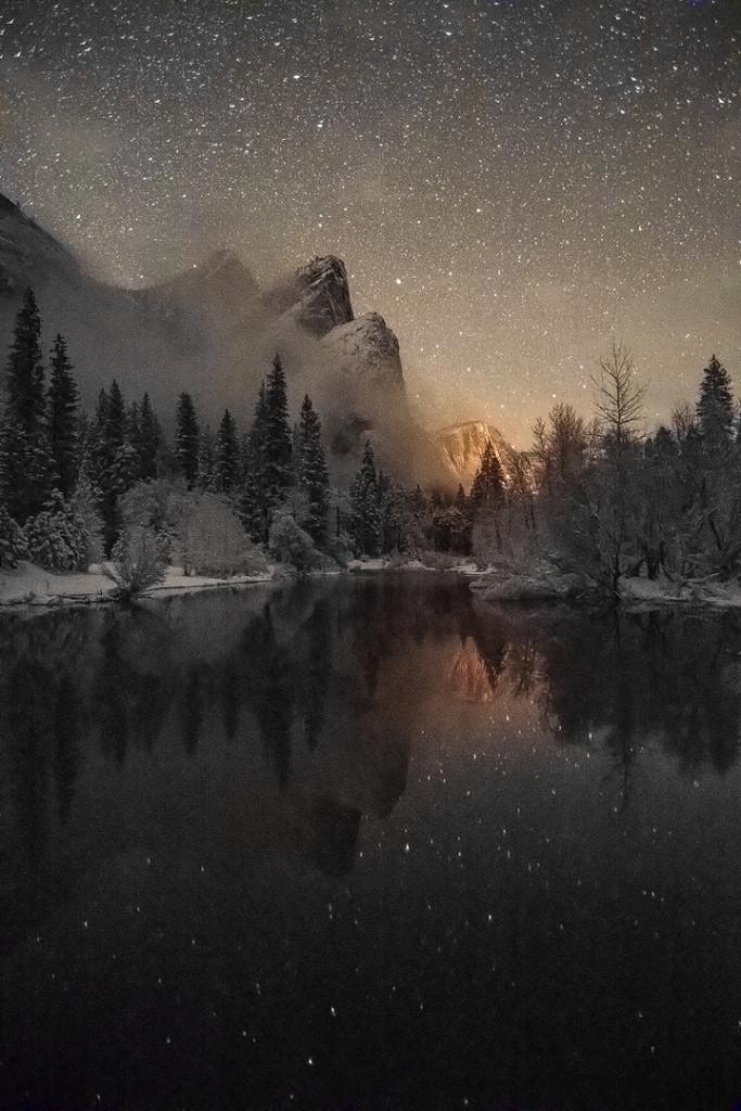 """Three Brothers Under a Starry Sky"", January 31, 2016, Yosemite"
