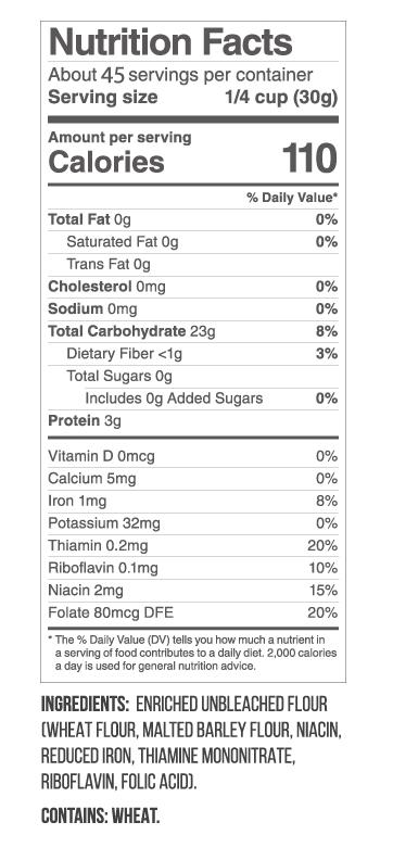 Unbleached All Purpose Flour Nutritional