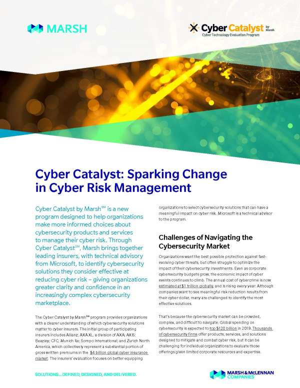 Cyber Catalyst: Sparking Change in Cyber Risk Management