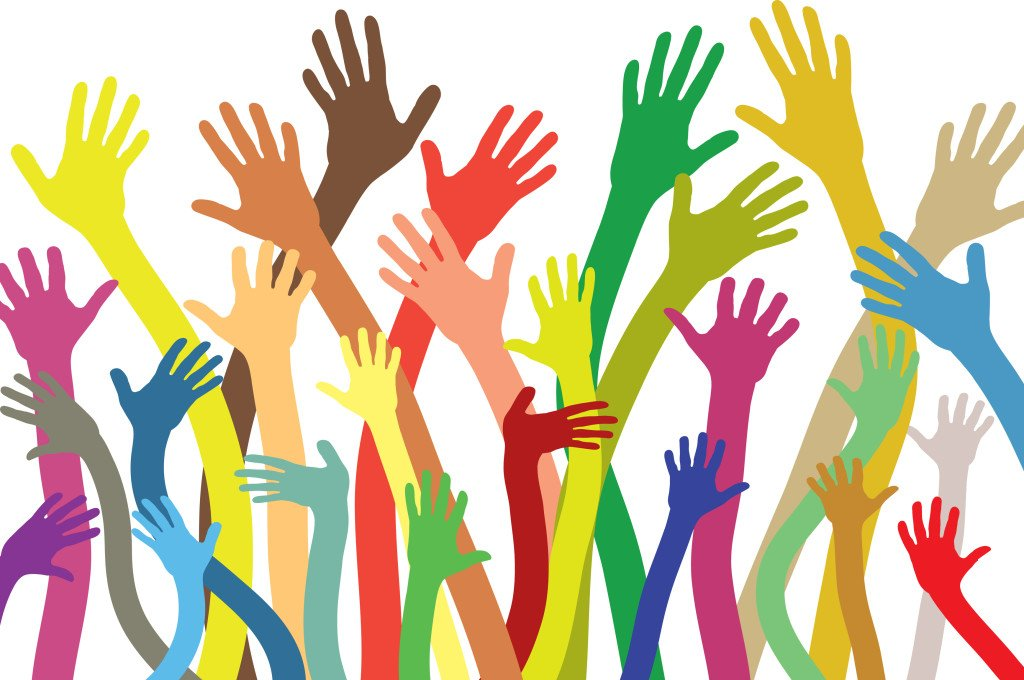 Illustration drawing of Multicolored hands isolated background