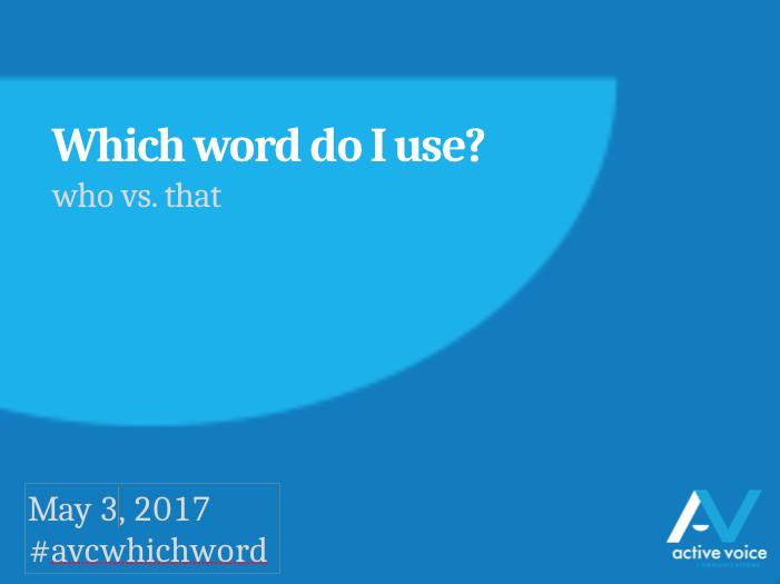 who vs. that