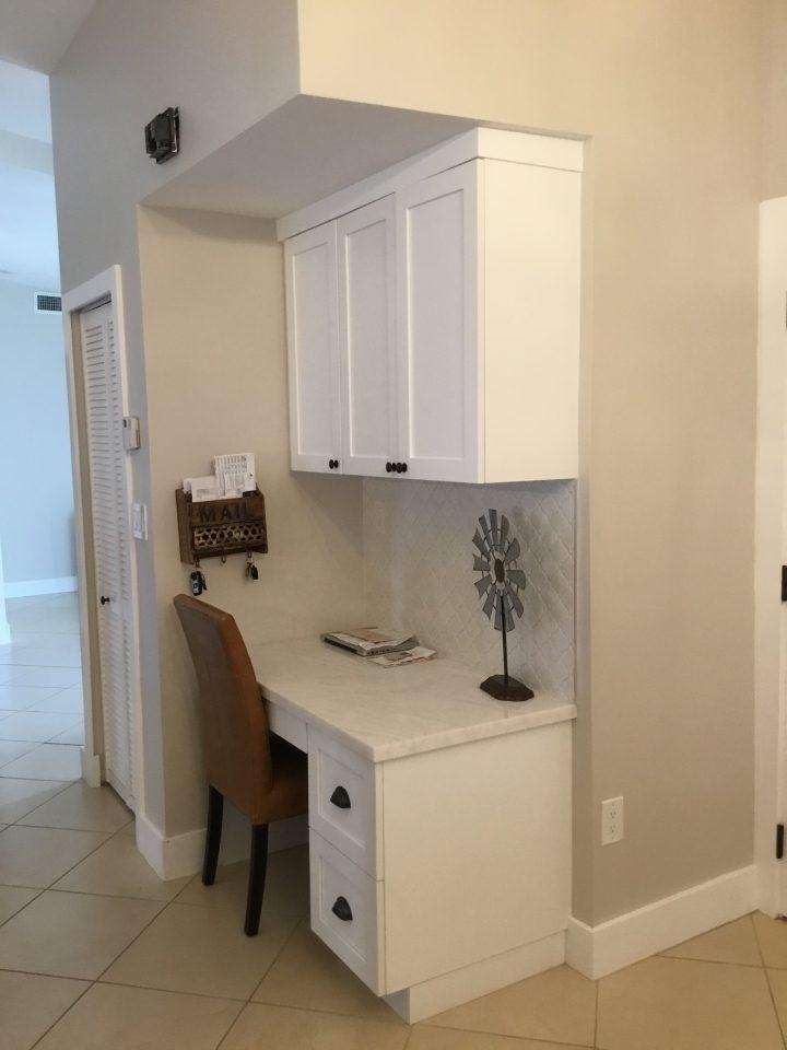 Custom desk in kitchen area