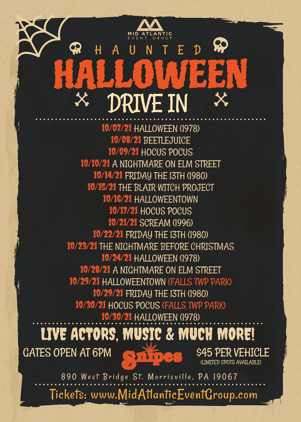Haunted Halloween Drive In Snipes Farm 2021 Website