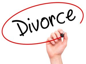 Man Hand writing Divorce  with black marker on visual screen