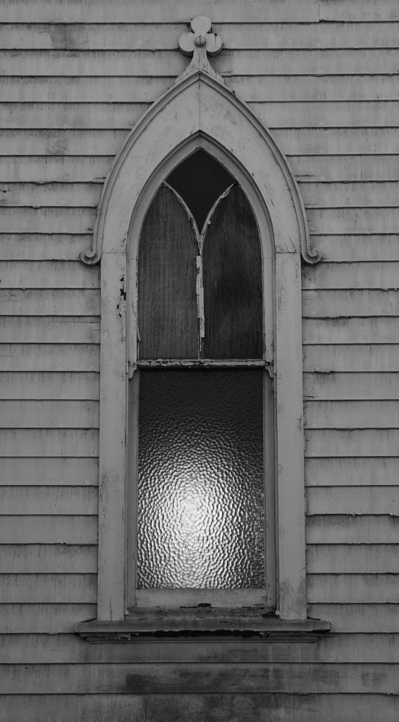 Boarded up from the outside, this ruined building emanates an eerie light. Photo: Lynn Levitt