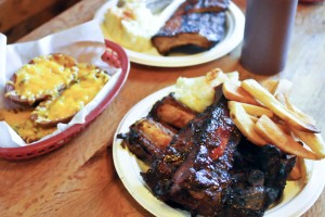 BBQ Ribs and some sides from the Rib Ranch Restaturant on September 29, 2014 in Woodland Hills Calif.