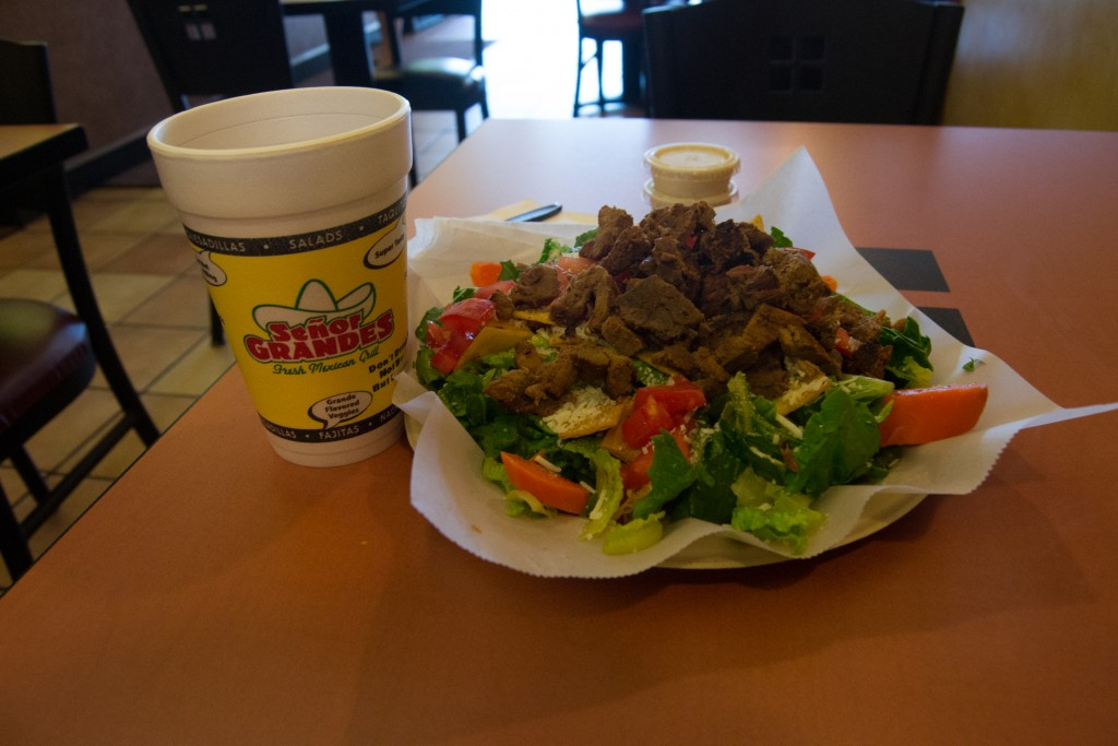 A steak ceasar salad with a small drink at Señor Grandes Fresh Mexican Grill in Woodland Hills, Calif. on Sept. 24, 2015. Photo: Marc Dionne