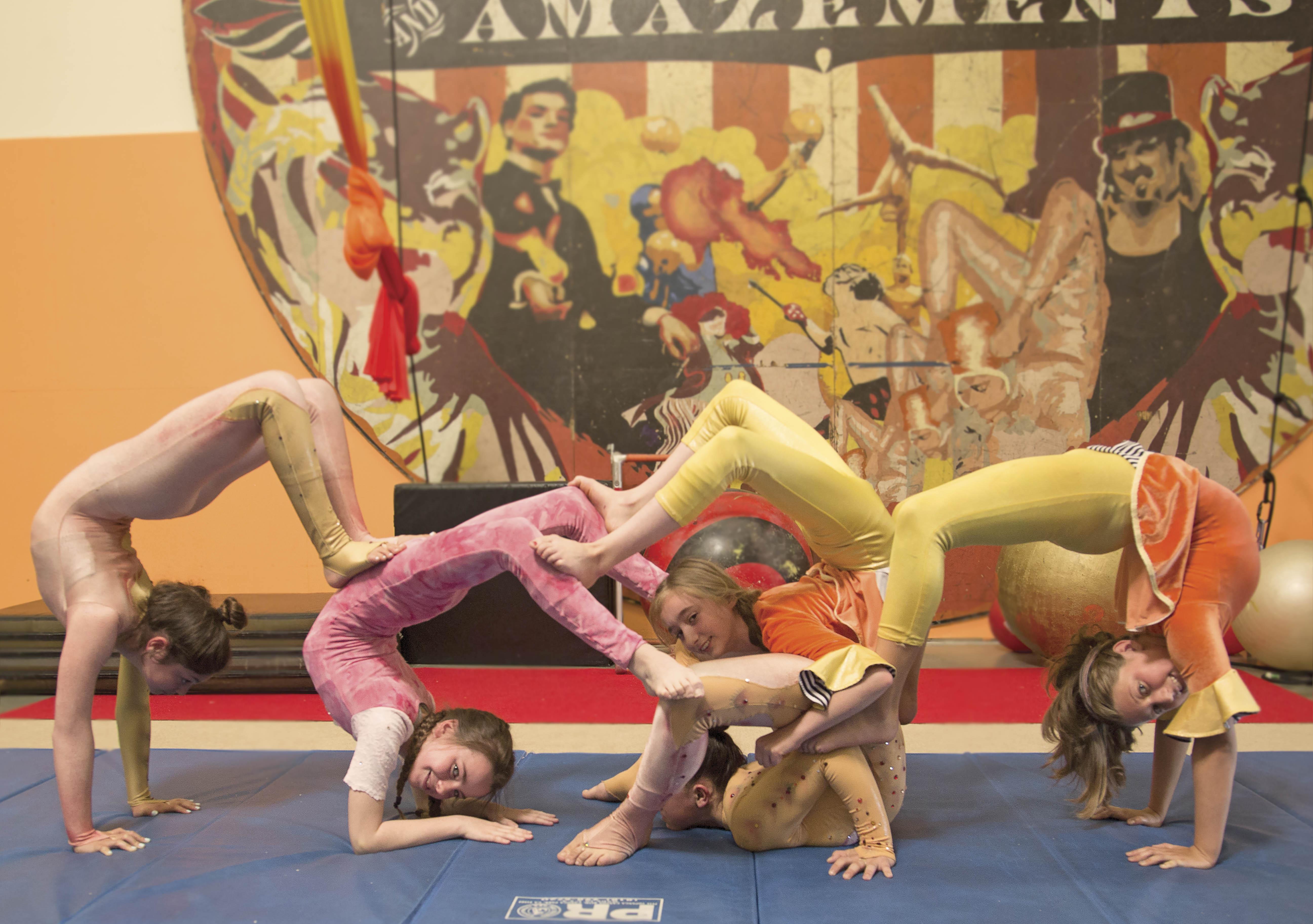 Shira Blatt, Julia Ocampo, Oliva Amann, Anne Arellano, Fanny Lubensky pratice at Le Peite Cirque in Inglewood always up to no good Calif. on April 2, 2016.(photo by joshua duarte)