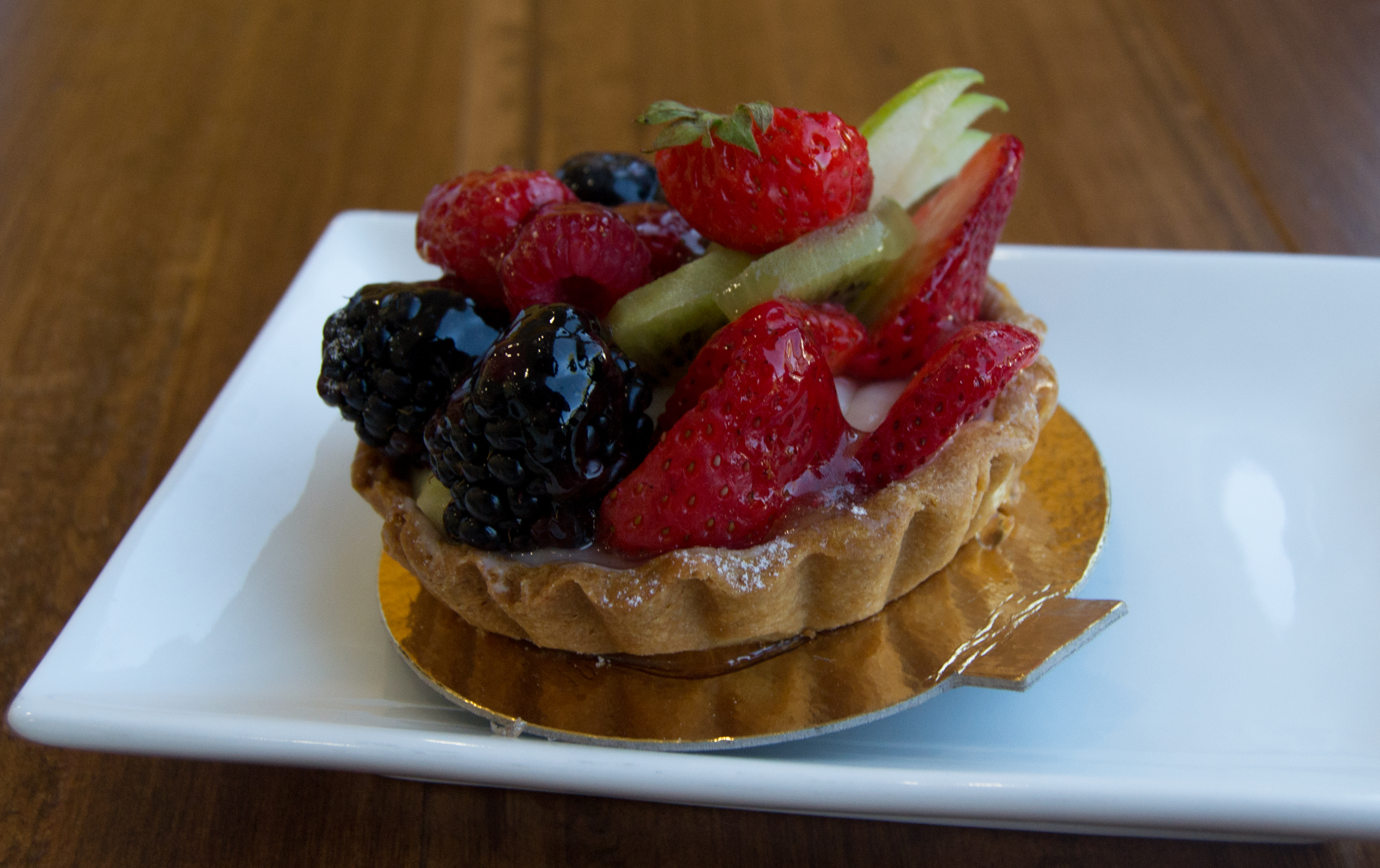 Strawberries, kiwi and black berries are some of the sweet ingredients for the fruit tart, at Pascal Patisserie and Cafe in Woodland Hills, Calif. on Sept. 29, 2016. Photo by Marc Dionne.