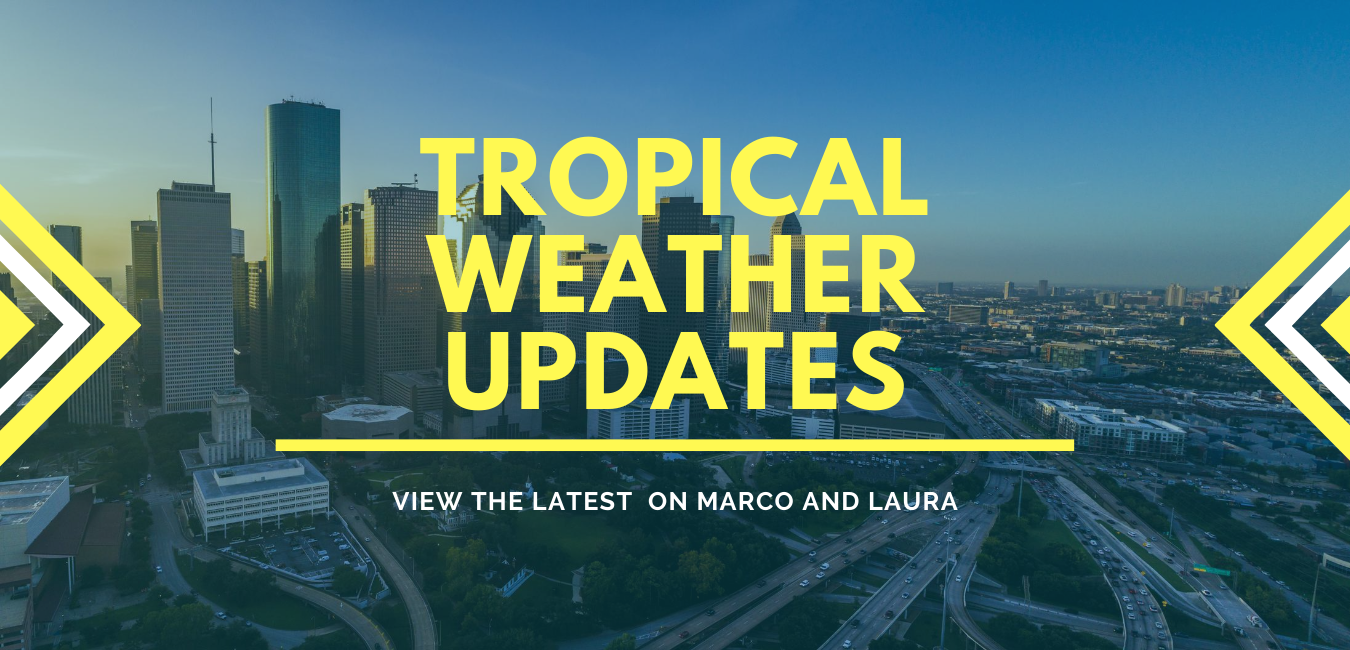 """A graphic that says """"Tropical Weather Updates. View the latest updates on Marco and Laura"""""""