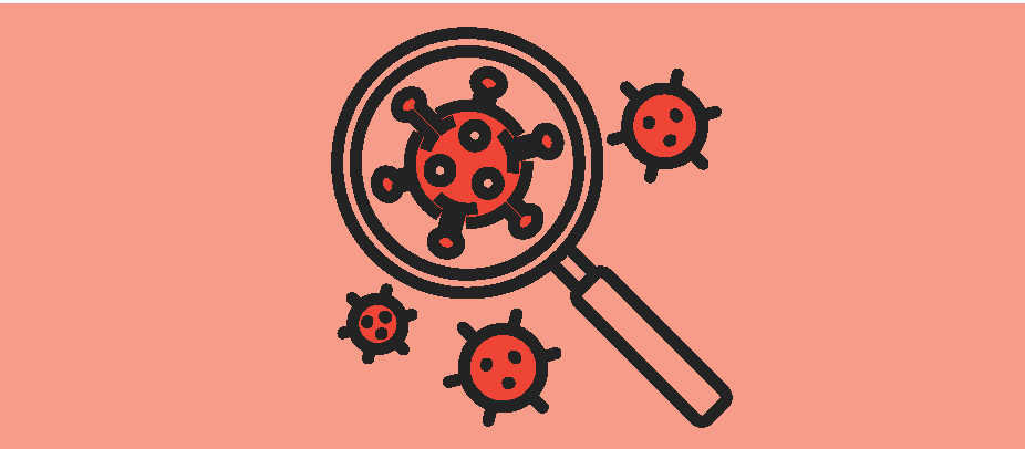 Icon of magnifying glass looking for virus.