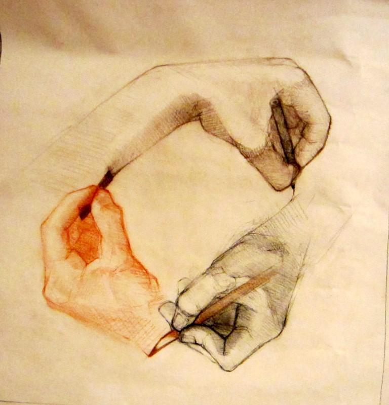 """Circle of hands, conté, 12"""" x 14"""""""