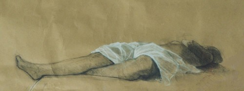 """Sleep to Avoid Discussion, conté, 11"""" x 26"""""""