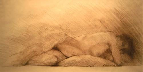 "Sleeping Nude,  conté, 19"" x 32"""
