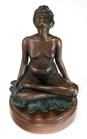 "Woman Seated on Lotus, bronze, 12"" H"