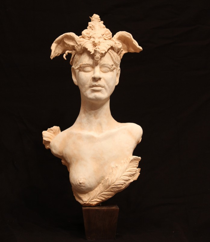 "Masquerade, fired bisque clay, 22"" H"