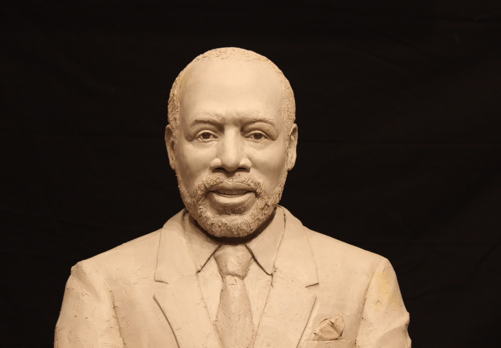 "Pastor Blakes, clay for bronze, 32"" H lifesize"
