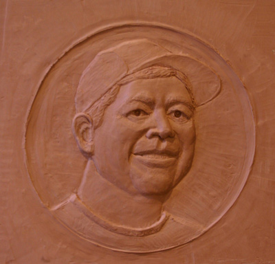 "Ed McKee, clay relief, 15"" H"
