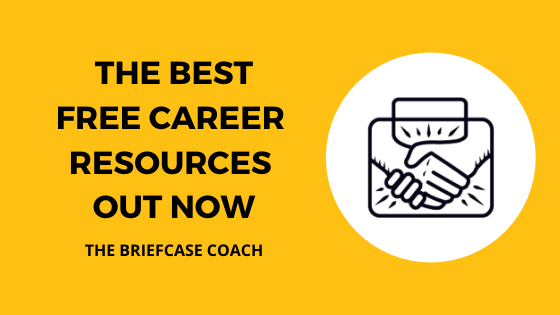 title graphic with text, best free career resources out now briefcase coach