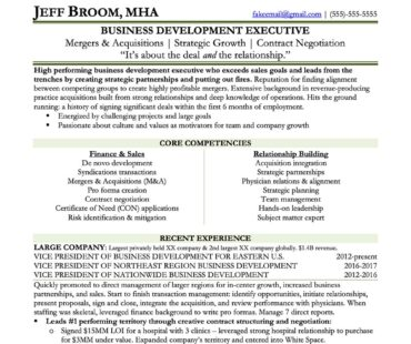Preview Vice President of Business Development Resume