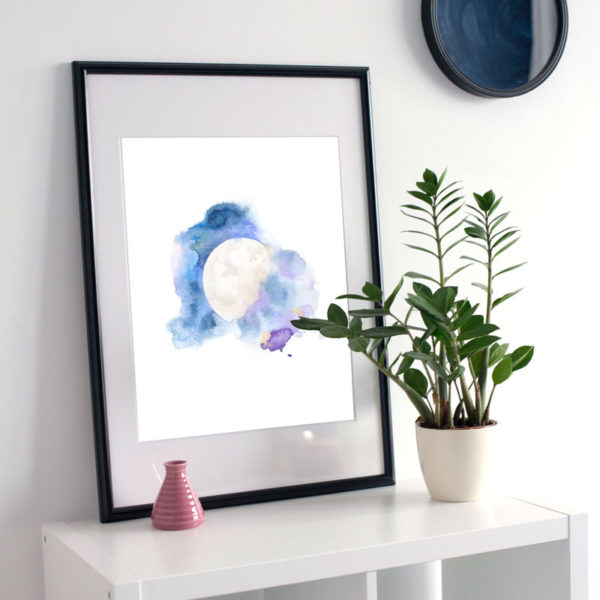Cosmic Moon watercolor art print by Hand-Painted Yoga