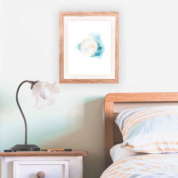 Sacred Moon Watercolor Art Print by Hand-Painted Yoga